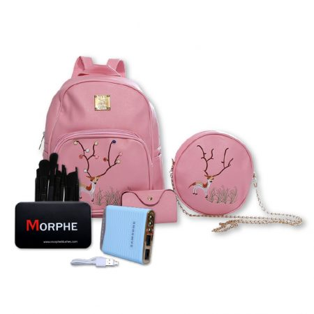 Bundle deal just for her with backpack, power bank and makeup brush set